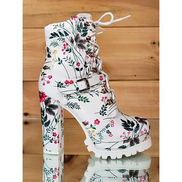 "Liliana White Floral Lace Up 4.75"" Chunky Heel Lug Sole Platform Ankle Boots"