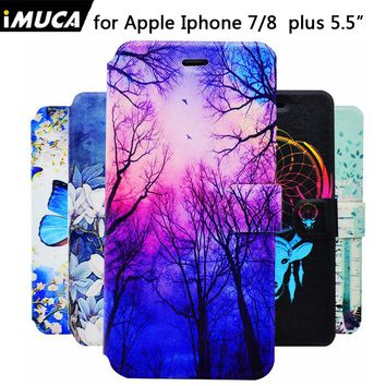 IMUCA pu leather for iphone 7 plus case  for iphone 8 plus case cover for iphone 7 plus 8 plus case coque capa wallet phone Case