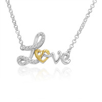 Sterling Silver and 14K Gold Heart in Love Diamond Necklace (1/10ct tw 17 inch)