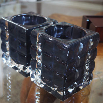 Quilted Glass Block Candle Holders, Dark Blue, Mid Century Mod Home Decor