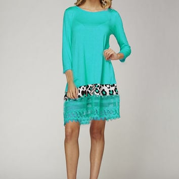 12PM by Mon Ami Jade Tunic with Leopard Print and Lace Trim