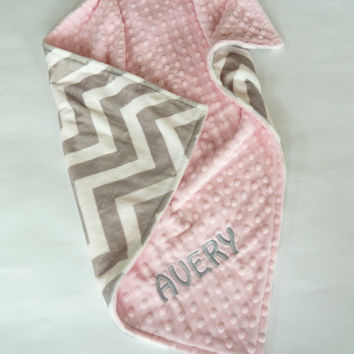 Personalized Baby Blanket or Lovey -  Baby Girl or Boy blanket - Light Gray Chevron front - You Choose  back Minky Color -  Coral, Pink