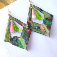 Lampwork Earrings, Enameled Earrings, Spring Fashion Handmade Mixed Media Jewelry for her on Mother's Day