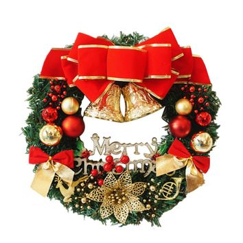 30cm high quality Christmas Large Wreath Door Wall Ornament Garland Decoration Red Bowknot Christmas decorations for home 2017