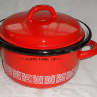 1950s FRENCH ENAMEL Small Stock Cooking Pot/Made In France/Bought in Marville France 1957/Red Enamel Retro Decorated Small Stock Pot