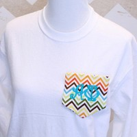 Greek Long-Sleeved Shirt with Chevron Fabric Pocket for Alpha Phi