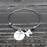 Alex and Ani Inspired Stackable Stainless Steel Bangle Bracelet-Hand Stamped Initial Wire Bracelet with Butterfly Charm