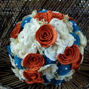 Burnt orange and turquoise bridal bouquet | Sola bridal bouquet | Rustic wedding | Rustic bouquet | Beach wedding | Beach bouquet