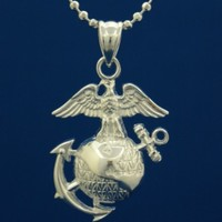 """US Marine Corps .925 Sterling Silver Necklace - Marines Pendant And Chain - Soldier Gifts For Men And Women - United States Military Jewelry Emblem - USMC Charm On Chain - Armed Forces Items - 24"""" Silver Pendant and Chain"""