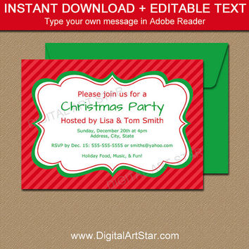 Christmas Invitation Instant Download, PRINTABLE Holiday Invitation Template, Christmas Invitation Download, EDITABLE Christmas Invites C3
