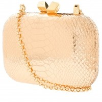 Boutique 1 - KOTUR - Pink Margo Embossed Snake Clutch | Boutique1.com