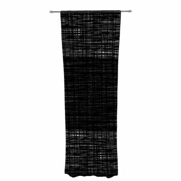 "Trebam ""Platno (center Stripe)"" Black White Modern Contemporary Digital Vector Decorative Sheer Curtain"