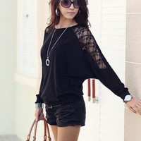 Street Fashion Lace Batwing Sleeve Black Blouses : Wholesaleclothing4u.com