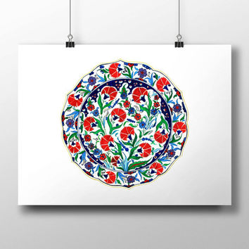 Turkish Tile Red Carnation Art Watercolor Print Ottoman Digital Print Wall Art Traditional Wall Decor Wall Hanging