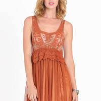 Waking Dream Crochet & Tulle Dress in Rust - $43.00 : ThreadSence.com, Your Spot For Indie Clothing & Indie Urban Culture