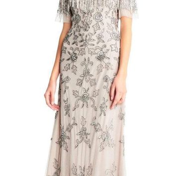 Adrianna Papell - AP1E202548 Off-Shoulder Beaded Fringe Evening Gown