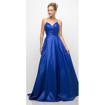 Long Strapless Ball Gown Royal Blue Pointed Sweetheart Pleated Bodice