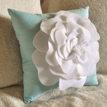 Flower Pillow White Rose on Aqua Pillow by bedbuggs on Etsy