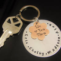 MOTHERS DAY GIFT Children Kids Names Key Chain Hand Stamped  Love you Mom Great Gift Idea for Mom Grandma Nana Aluminum and Copper