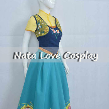 New! Disney Frozen Fever Anna Dress Fever Queen Cosplay Costume Dress Halloween Dress Custom made Order