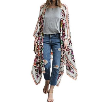 Cover ups Bikini 2018 Womens Summer Beach  Asymmetric Hem Loose Floral Print Long Sleeve Kimono Casual Cardigans Jackets Tops Shirts KO_13_1