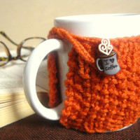 Coffee Mug Cozy with I Heart Coffee Button - Coffee Gift Ideas – Coffee Accessory - Orange Mug Cozy – Fall Decor Finds – Thanksgiving Gift