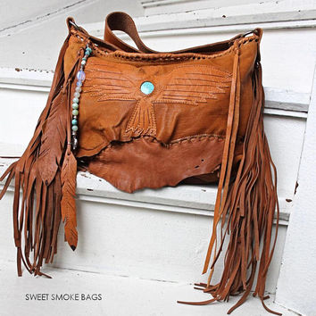 Rusted color leather raw edges butter soft  fringe fringes boho  sweet smoke bags thunderbird bird eagle southwestern bag gypsy turquoise