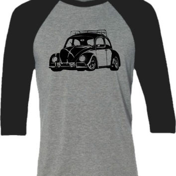 Retro Car Shirt-VW Bug- Classic Beetle Car- Baseball tee shirt for him
