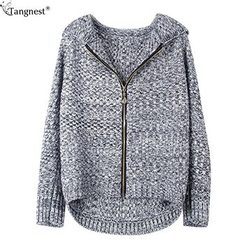 TANGNEST Hooded Cardigan 2017 Fashion Preppy Style Women Sweater Long Sleeve Batwing Sleeve Cardigans WWK541