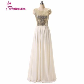 Charmming Sexy Bridesmaid Dresses Chiffon Tulle with Top Champagne Gold Sequin 2017 Long Special Occasion Dresses