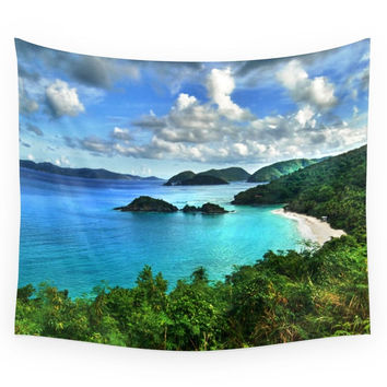 Society6 Caribbean Beach Trunk Bay, St. John Wall Tapestry
