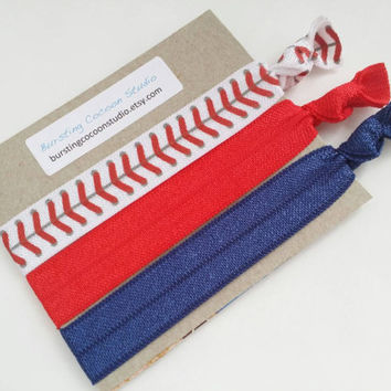 Baseball hair ties, red and navy hair ties set of 3, softball, elastic ponytail holders, white with red stitches print, sports hair ties