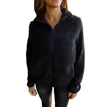 Chicloth Black Fuzzy Zip up Fleece Jacket