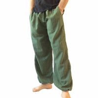 Men's Green Cotton Baggy Hippie One Size Pants