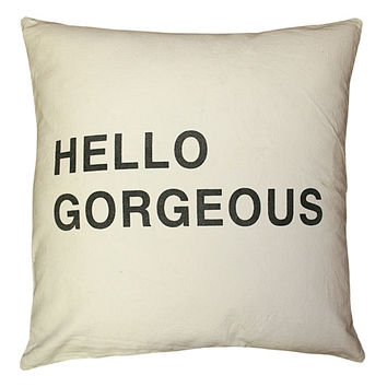 White - Hello Beautiful Pillow