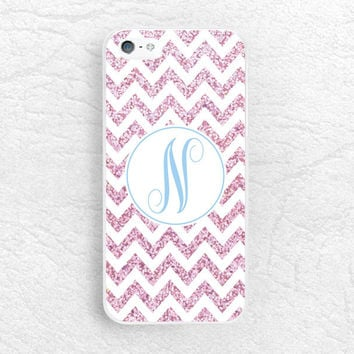 Pink Glitter print chevron Monogram phone case for iPhone Sony z1 z3 compact, LG g2 g3, HTC one m7 m8, Moto x Moto g Personalized name cover