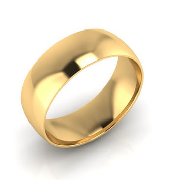 Wedding Band, Solid Gold Wedding Band 7.50mm 14K Yellow Gold Wedding Band, Hand Made Wedding Band, Free Engraving, Promise Ring, 7.50mm