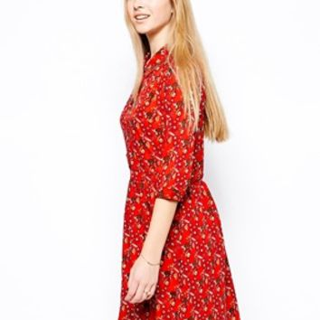 Yumi Lovely Lemurs Dress - Red