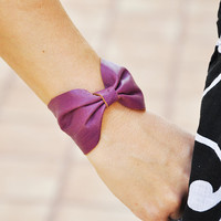 Plum Leather Bow Bracelet