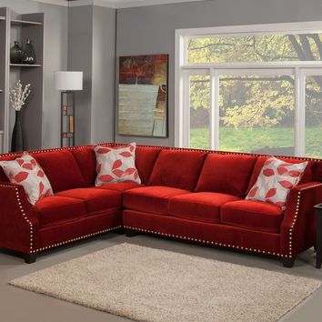 Benchley OperaRuby 2 pc opera collection ruby color fabric upholstered sectional sofa with square set back arms
