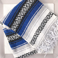 Authentic Mexican Blanket in Blue