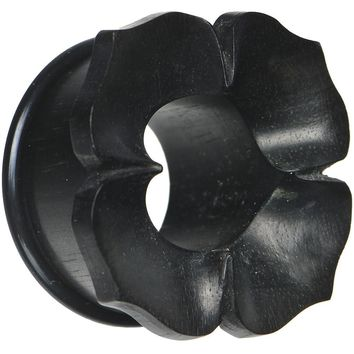 """1"""" Hand Carved Organic Areng Ebony Wood Flower Tunnel"""