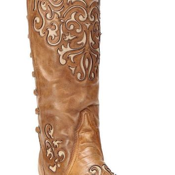 Corral Bone-Brown Inlay Back Strap Boots A3043