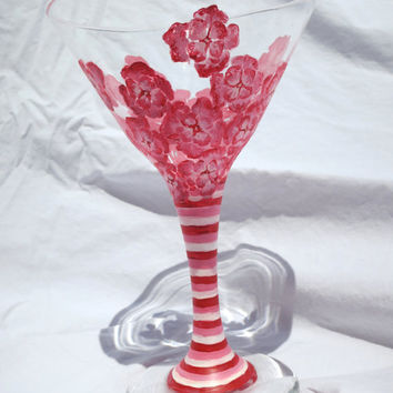 Hand-Painted Floral Martini Glass