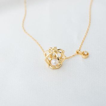 Pearl Princess Crown Pendant Necklace