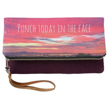 """""""Punch"""" hot pink yellow sunrise fold-over clutch"""