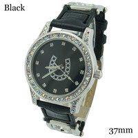 Ladies Horse Shoe Rhinestone Leather Watch 37mm