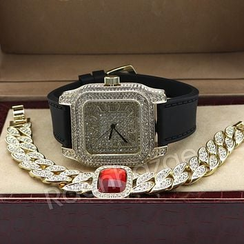 Iced Out 14K Gold PT Square Shape Black Band Watch Ruby Cuban Bracelet Set F67G
