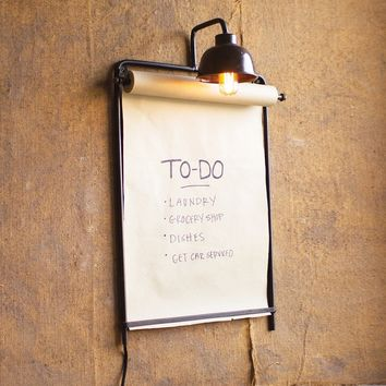 Wall Lamp With Note Roll