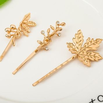 4 Patterns Leaf Small Branch Bird Gold Color Silver Color Hair Clips and Pins Barrettes Headwear for Girls Women